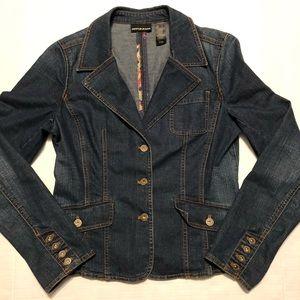 DKNY Denim Jacket Blazer Dark Wash Stretch L